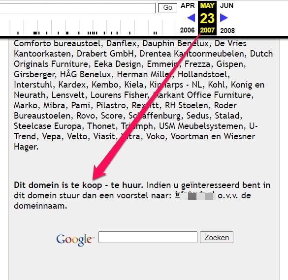Screenshot van optimus.nl in Wayback Machine van 23 mei 2007, waar de domeinnaam al te koop aangeboden wordt.