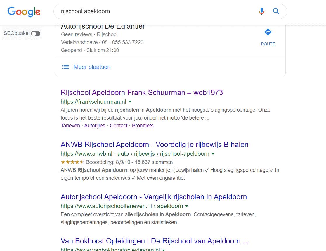 Eerste organische zoekresultaten voor rijschool apeldoorn met voornamelijk websites van de rijscholen zelf.
