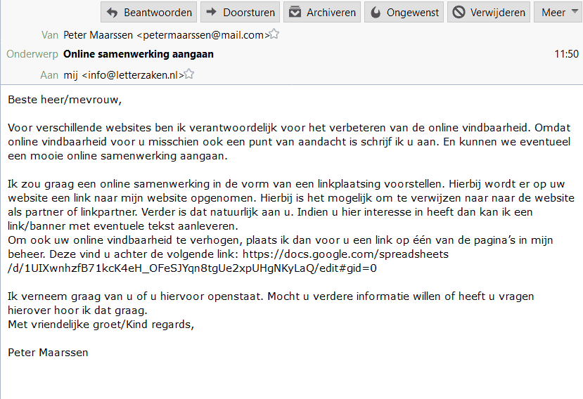 Een typische outreach e-mail voor linkbuilding