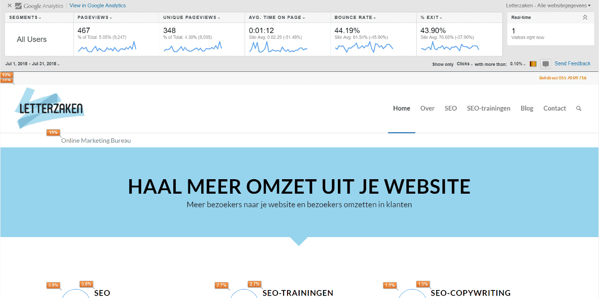 Homepagina letterzaken.nl met klikpercentages via de Page Analytics add-on