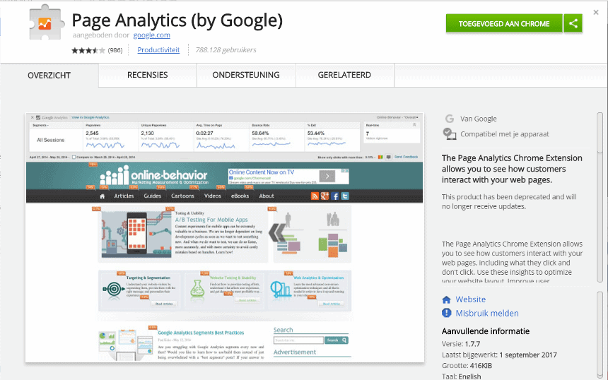 Je downloadt de Page Analytics add-on in de Chrome webstore