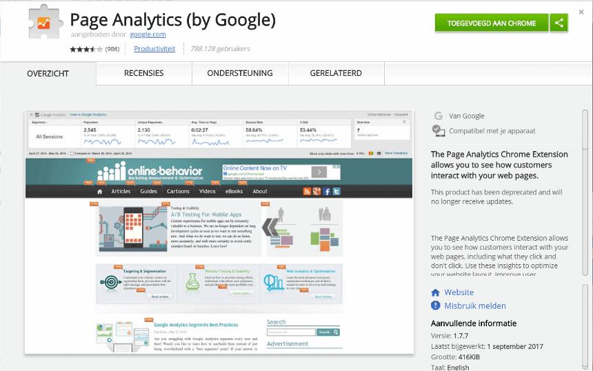 Je downloadt de Page Analytics add-on in de Chrome webstore