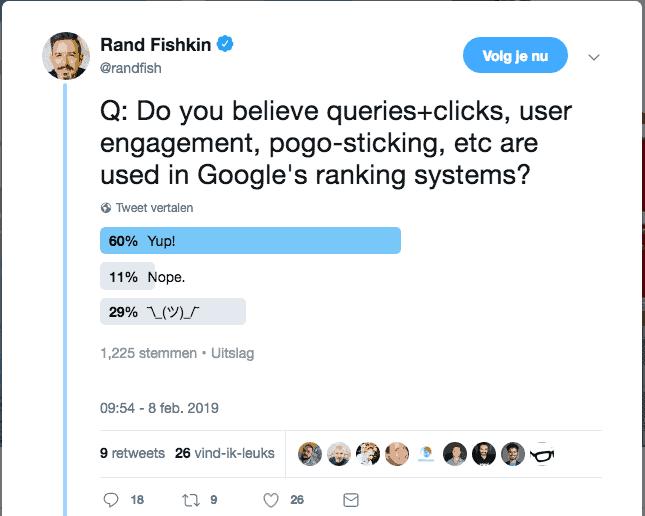 Poll van Rand Fishkin op Twitter over de invloed van klikken en pogosticking op posities in Google