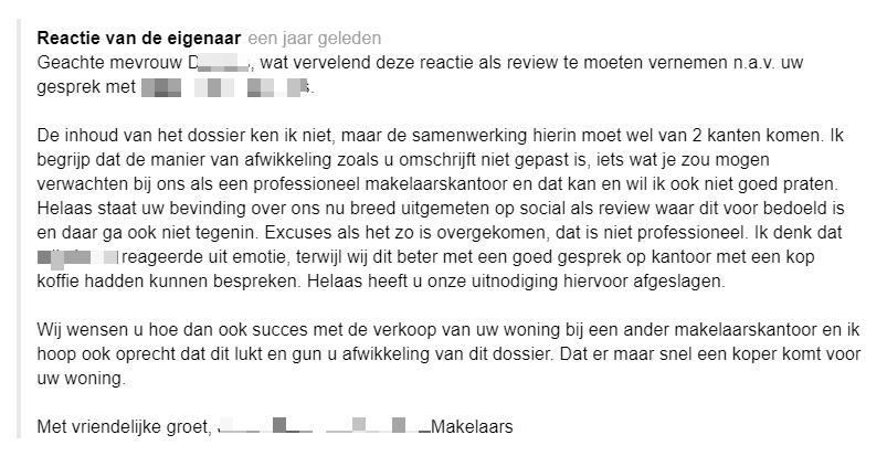 Reactie van een makelaar op een negatieve Google review.