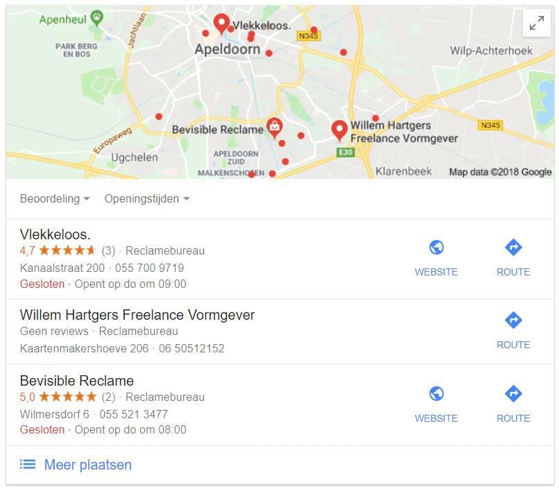 Recensies in Google voor reclamebureaus in Apeldoorn