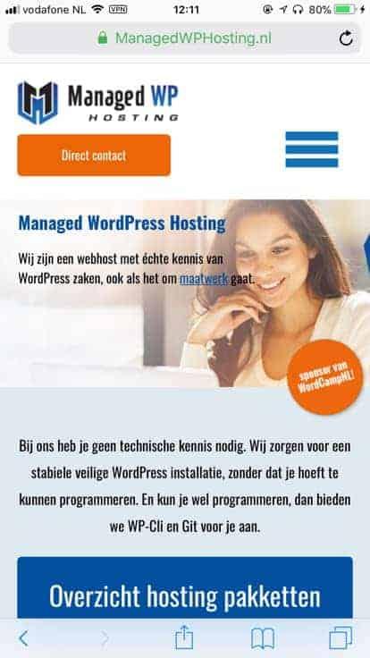 Responsive webdesign op managedwphosting.nl