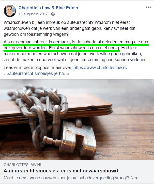 Je hebt altijd schade wanneer er sprake is van inbreuk op jouw auteursrecht, stelt Charlotte Meindersma.