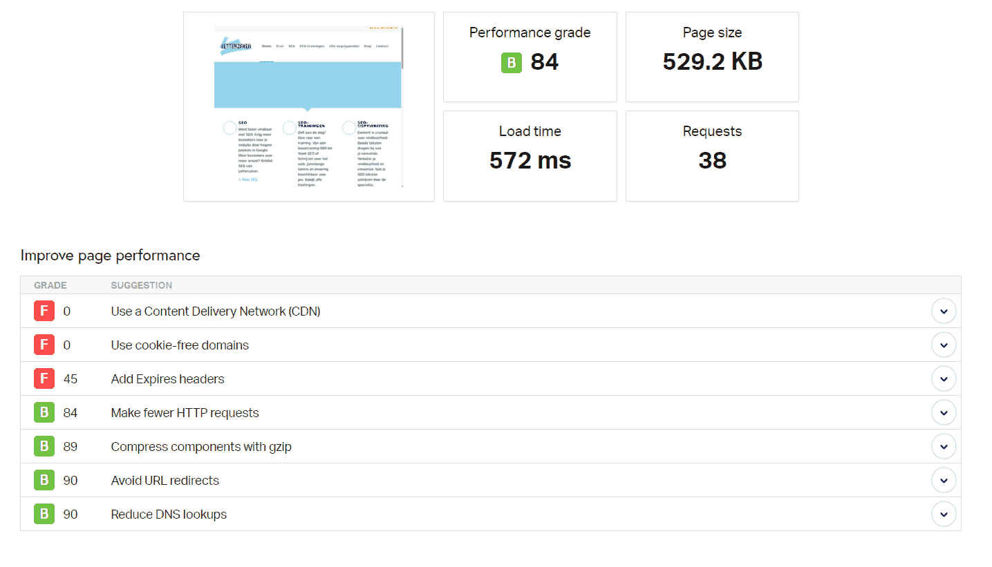 Een iets andere laadtijd en paginagrootte in Pingdom Tools