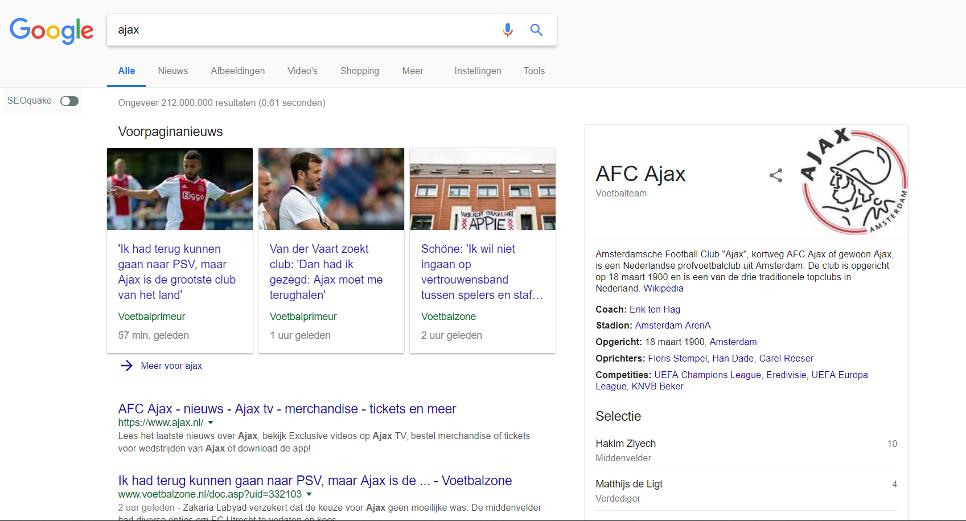 De zoekresultatenpagina (SERP) voor de zoekterm Ajax gaat enkel over de voetbalclub