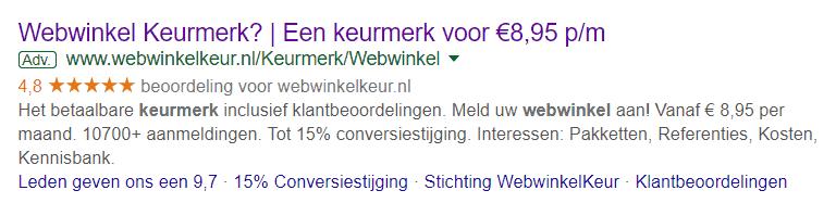 Een advertentie in Google Ads met sitelinks