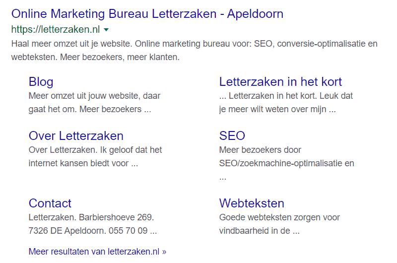 Zoekresultaat voor de zoekterm 'Letterzaken' met 6 sitelinks onder de link naar de homepagina.