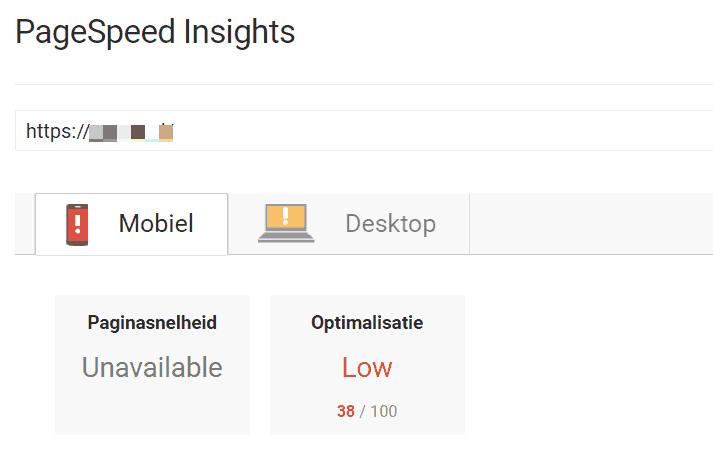 Hier zie je het verschil tussen de snelheid van de mobiele website met een score van 38 en de desktop website, met een score van 64 uit 100.
