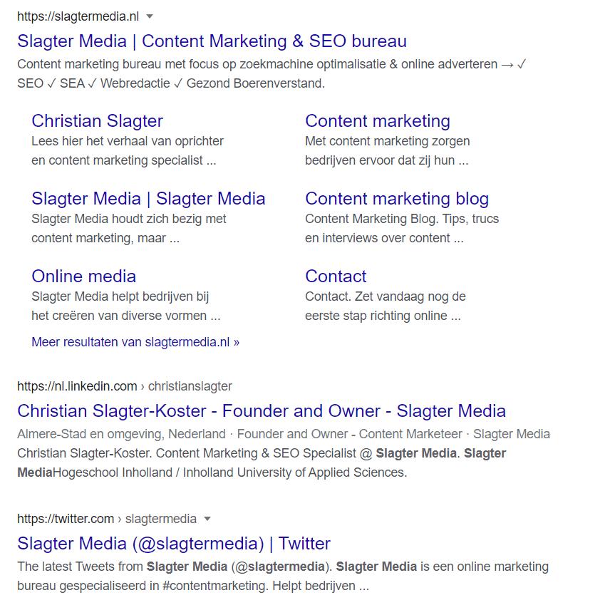 Zoekresultaat voor 'slagter media', met na de website slagtermedia.nl de link naar het LinkedIn-profiel van Chrstian Slagter en daarna zijn Twitter-account.