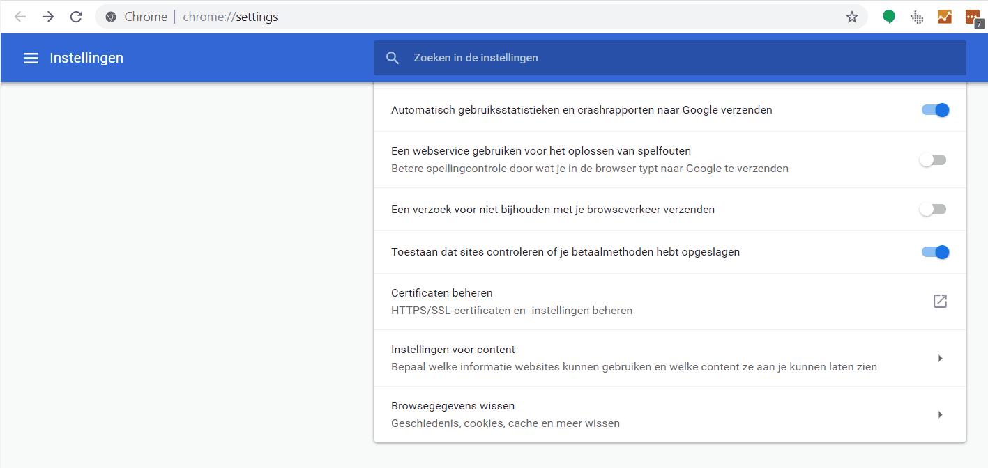 Oplossen cookieprobleem Google Maps stap 1: Naar instellingen in Google Chrome en naar Instellingen voor content