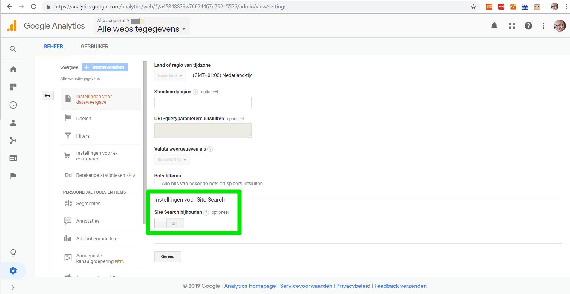Stap 2: inschakelen van Site Search in de instellingen