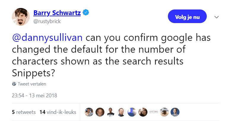 Tweet Barry Schwartz aan Danny Sullivan over kortere meta-omschrijvingen
