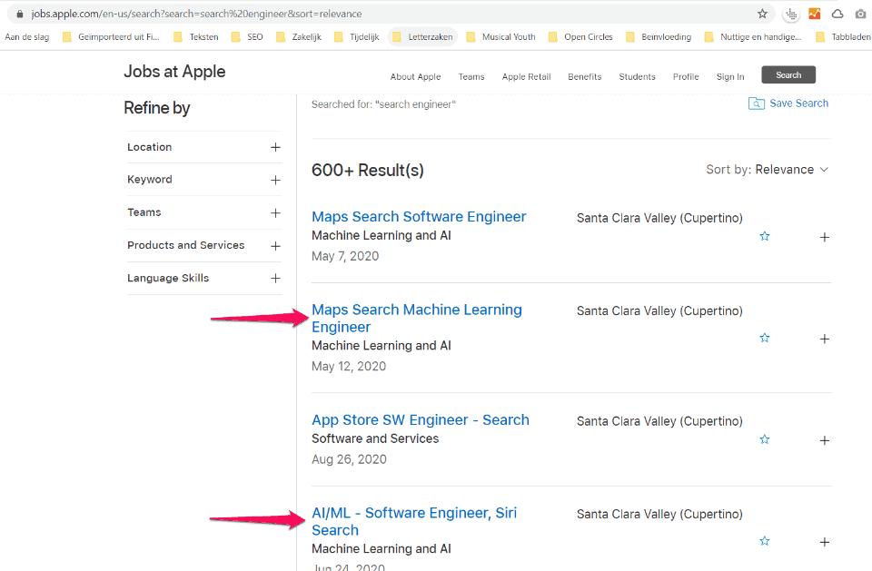 Vacatures op jobs.apple.com met onder andere een 'Maps Search Machine Learning Engineer' en meer vacatures die met machine learning te maken hebben.
