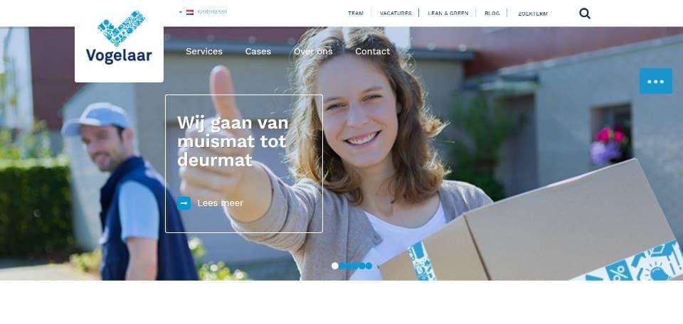 Homepagina van Vogelaar uit IJsselstein, waar de wimpertest alleen maar bevestigt dat de website-usability onder de maat is.