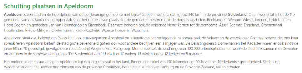Informatie die van de VVV in Apeldoorn afkomstig kon zijn voegt niks toe aan een webpagina over schuttingen.