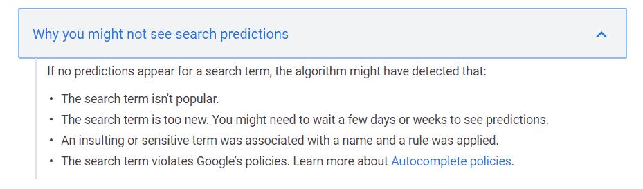 Geen autocomplete? Dit kunnen volgens Google zelf de redenen zijn