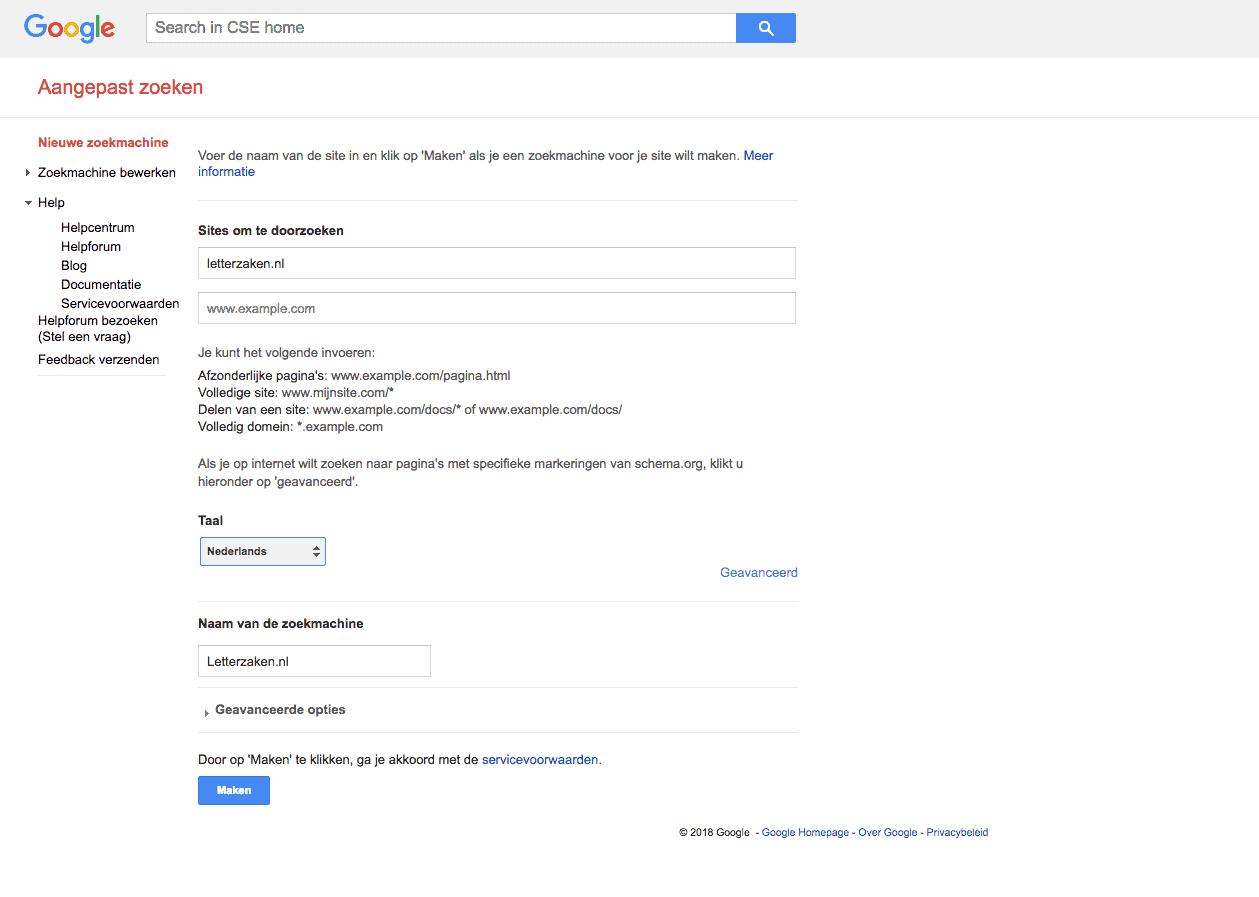 Hier voer je een website in binnen Google Aangepast Zoeken.