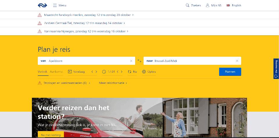 Anno 2019 moet je nog steeds goed je best doen om uit de homepage van ns.nl op te maken dat het over de spoorwegen in Nederland gaat.