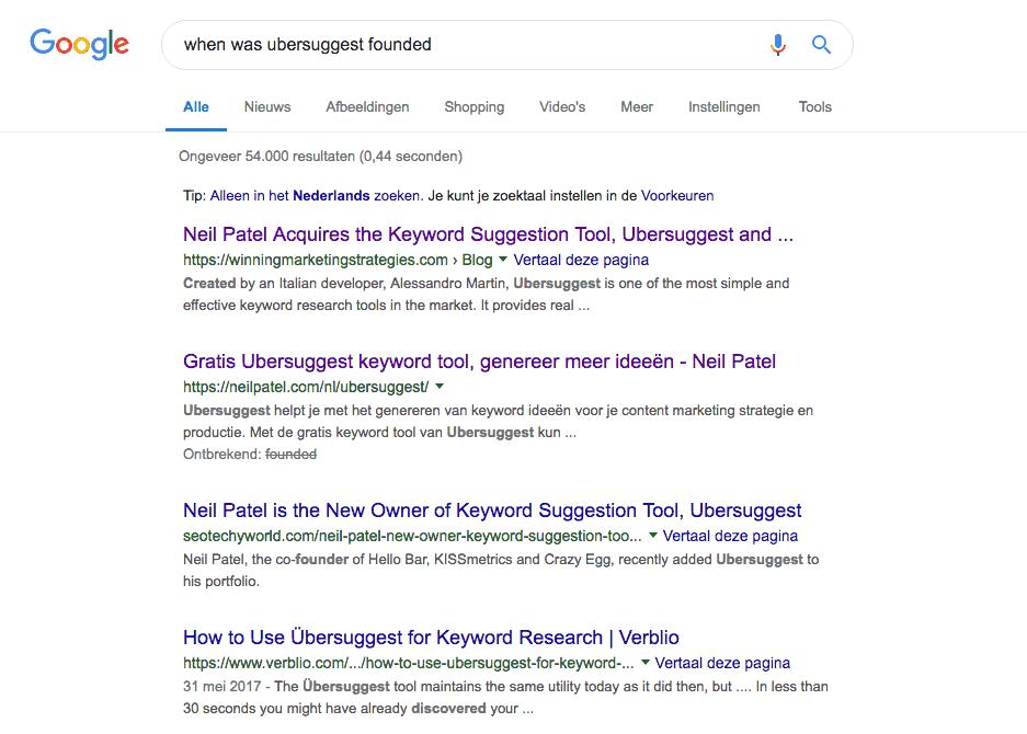 Wanneer is Ubersuggest opgericht Google zoekresultaat - zonder succes