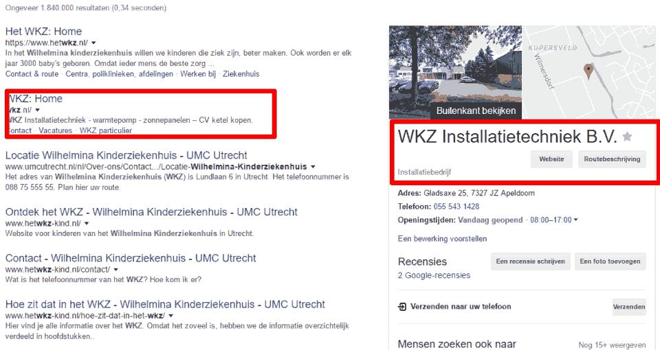 WKZ in de zoekresultaten in de regio Apeldoorn, inclusief het installatiebedrijf