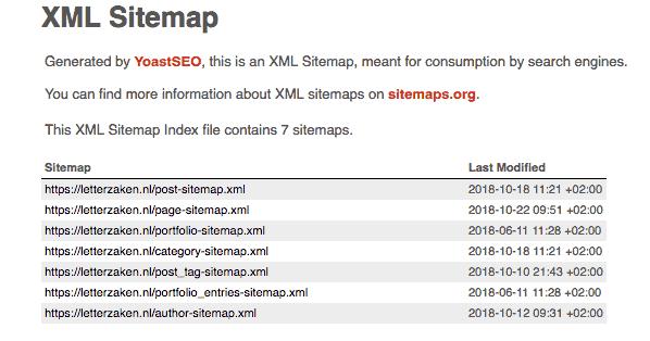 De XML sitemap van Letterzaken