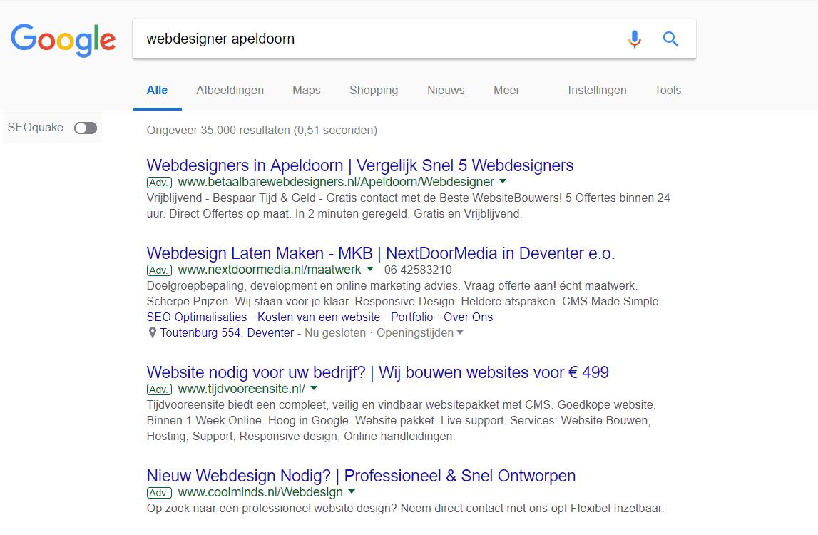 Betaalde zoekresultaten (AdWords) boven de organische zoekresultaten
