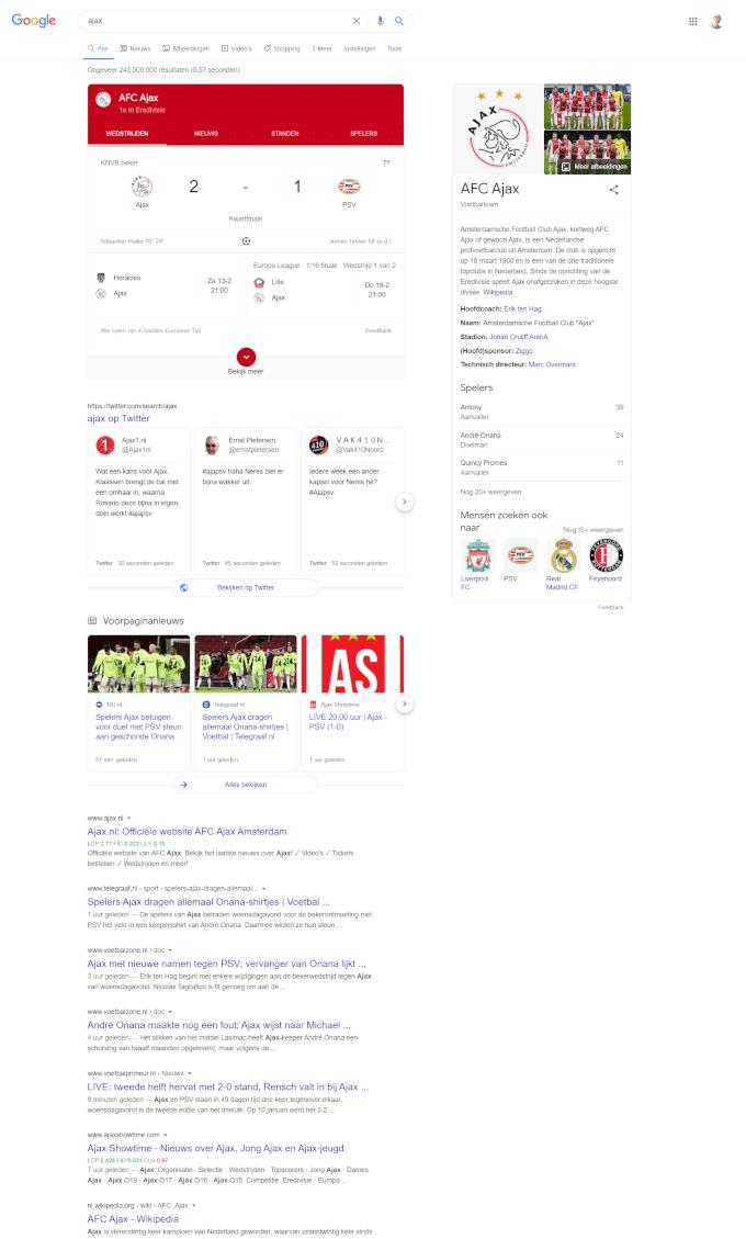 De zoekopdracht 'ajax' in Google levert in februari 2021 nieuws en informatie over de voetbalclub op.