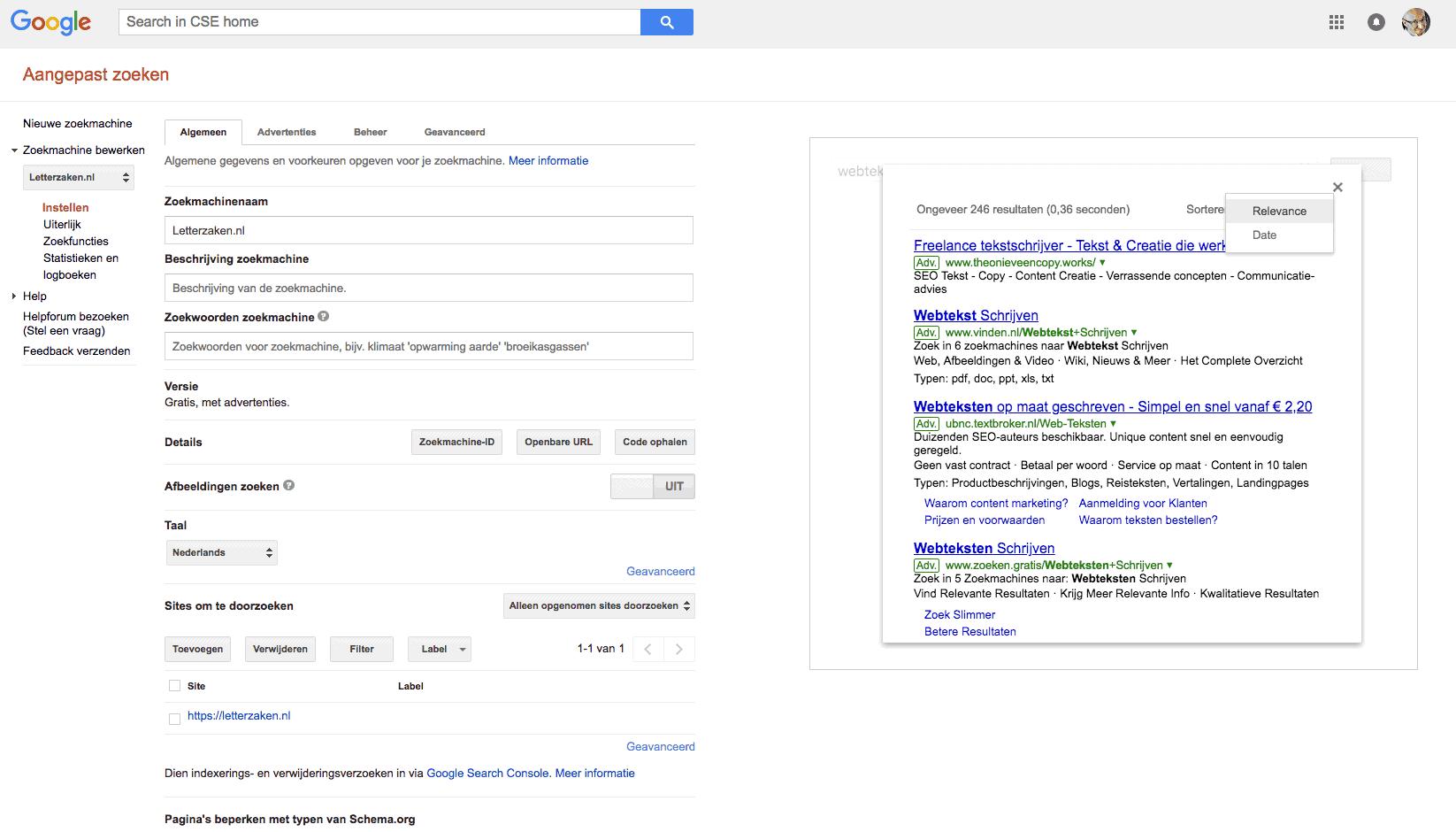 Voorbeeld van een zoekopdracht in Google Aangepast Zoeken.