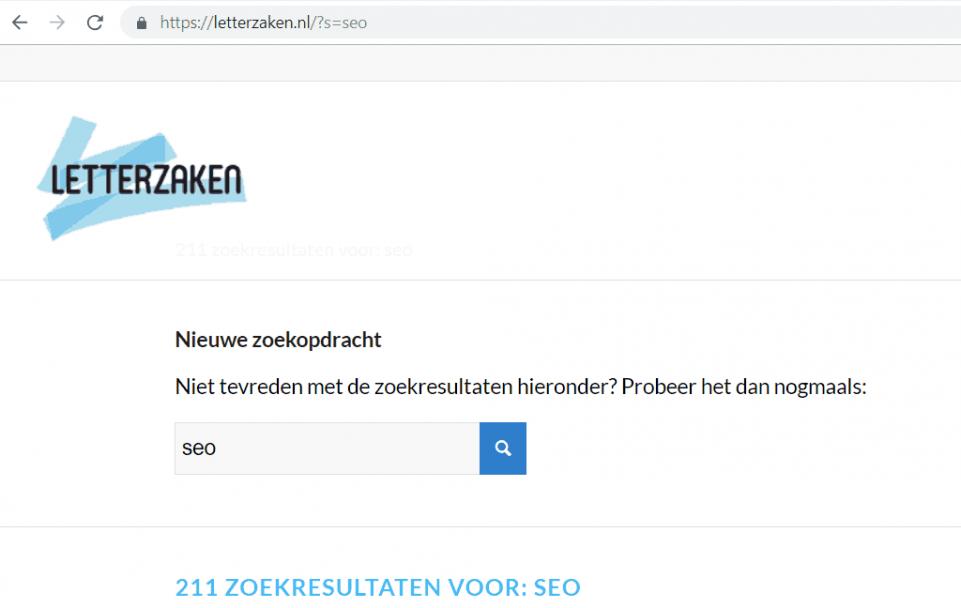 Zoekopdracht 'SEO' op letterzaken.nl, met de letter s als queryparameter
