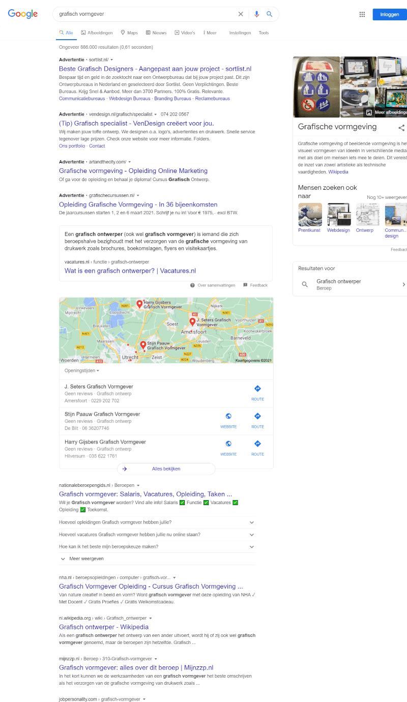 Zoekresultatenpagina in Google voor 'grafisch vormgever'.