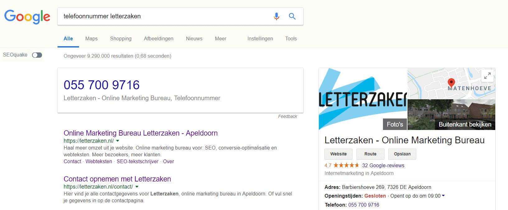 Zoekresultatenpagina voor zoekopdracht telefoonnummer letterzaken dankzij Google Mijn Bedrijf