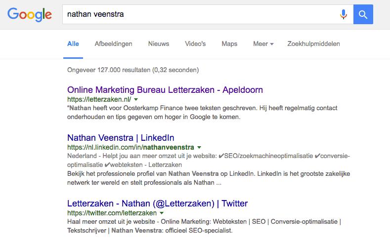 """Zoekresultatenpagina voor de zoekterm """"Nathan Veenstra"""" - zonder advertenties"""