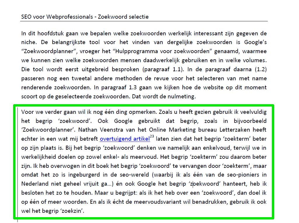 Steun voor mijn betoog voor het gebruik van de uitdrukking 'zoekterm' in het boek van Alain Sadon (SEOguru)