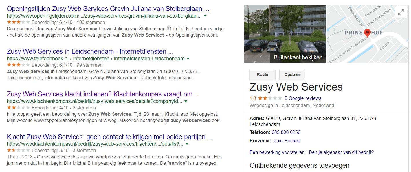 Online recensies over Zusy Web Services zijn beslist niet positief